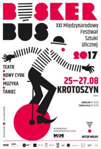 Plakat XXI Międzynarodowego Festiwalu Sztuki Ulicznej BuskerBus
