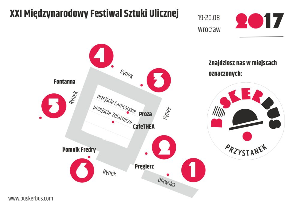 Mapa przystanków- BuskerBus 2017 we Wrocławiu
