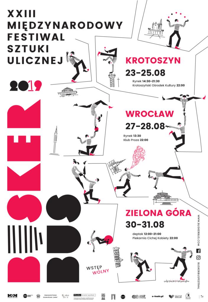 Plakat XXIII Międzynarodowego Festiwalu Sztuki Ulicznej BuskerBus 2019