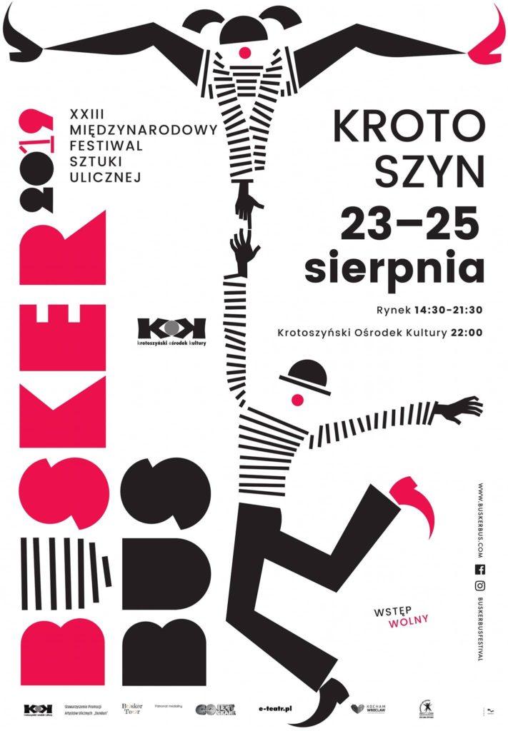 Plakat XXIII Międzynarodowego Festiwalu Sztuki Ulicznej BuskerBus 2019 w Krotoszynie