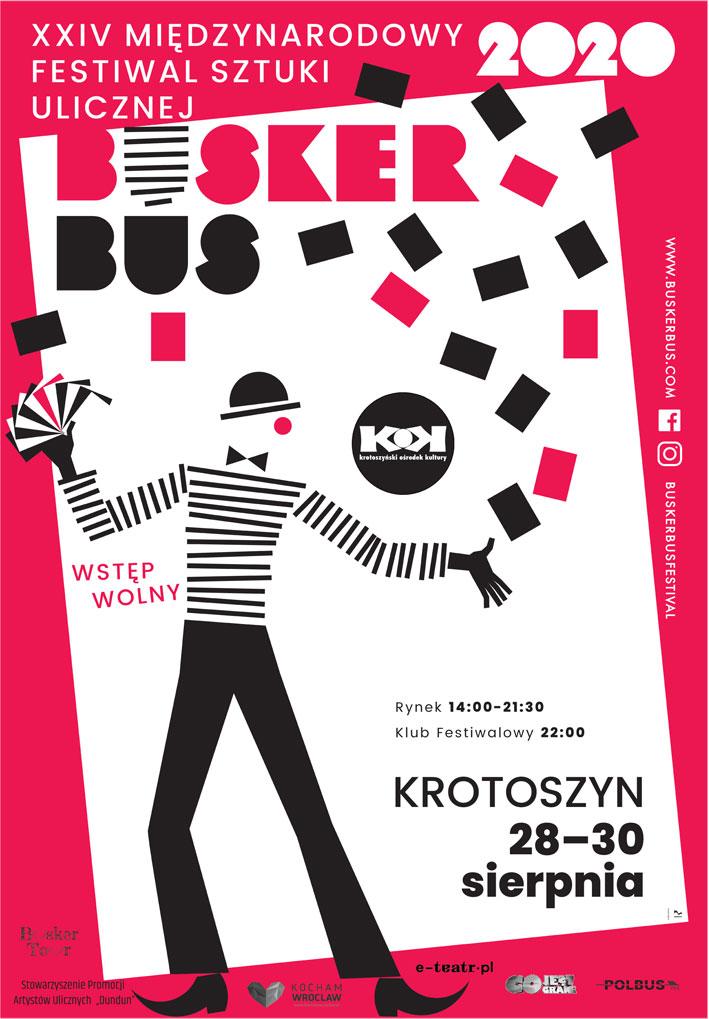 Plakat XXIV Międzynardowego Festiwalu Sztuki Ulicznej BuskerBus w Krotoszynie
