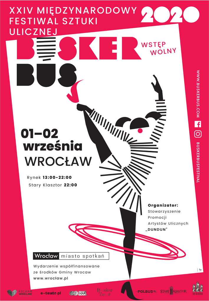 Plakat XXIV Międzynardowego Festiwalu Sztuki Ulicznej BuskerBus we Wrocławiu