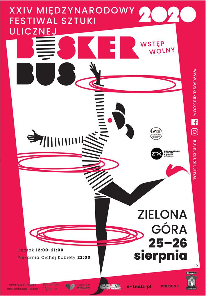 Plakat Festiwalu BuskerBus 2020 w Zielonej Górze