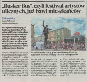 Gazeta Lubuska nr 197/2021 informacja o Festiwalu BuskerBus